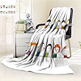 Microfiber Fleece Comfy All Season Super Soft Cozy Blanket happy healthy and colorful girls and boys for Bed Couch and Gift Blankets(90''x 70'')
