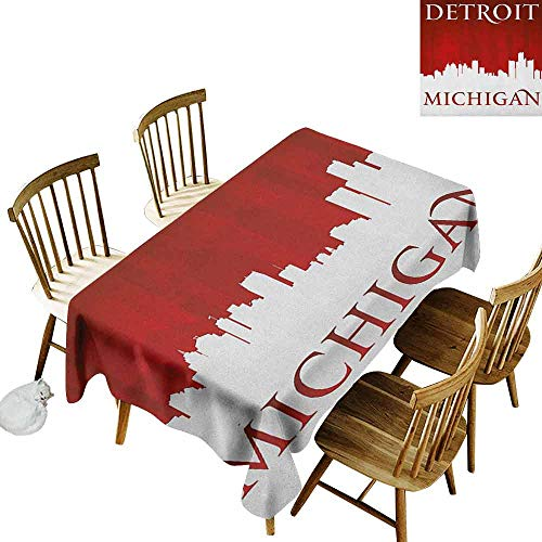 DONEECKL Detroit dust-Proof Tablecloth Daily use Michigan City Silhouette Red and White Composition with Classical Typography Red and White W60 xL120 -