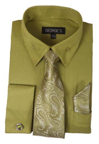 George's Dress Shirt w/ Matching Tie,Hankie,Cuff & Cufflink AH619-Olive-17-17 1/2 -36-37