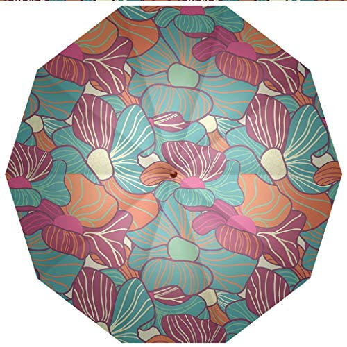 Compact Travel Umbrella UV Protection Auto Open Close Floral,Flourishing Foliage Petals Plant Vibrant Color Palette Image Flower Blossom Windproof - Waterproof - Men - Women -Lightweight- 45 inches