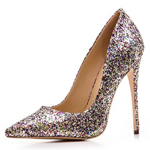 Chris-T Womens Mixed Colors Pointed Toe Stilettos High Heels Dress Pumps Shoes Sequins Gold Qk3bNQNZAJ