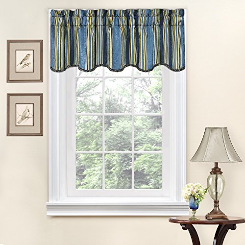 (Traditions By Waverly Stripe Ensemble Scalloped Window Valance, 52x16, Porcelain)