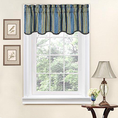 Valance Stripes Jacquard - Traditions By Waverly Stripe Ensemble Scalloped Window Valance 52x16 Porcelain