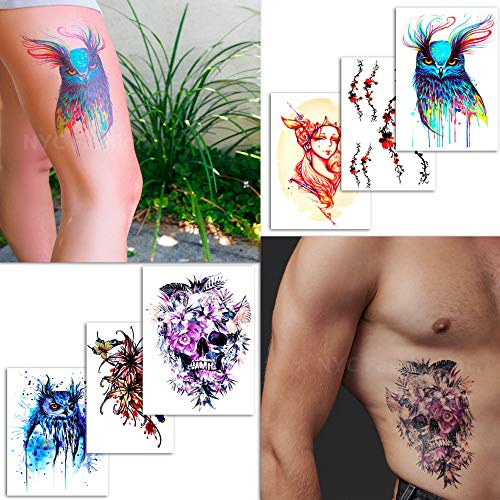 6 Large Temporary Tattoos Artistic Designs - For Adults and Women - Tattoos for Arms Legs Shoulder or Back -