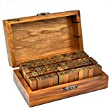 HiDven Set of 70 pieces Rubber Stamps Set Vintage Wooden Box Case Alphabet Letters Number Craft (No Ink Pad Included)