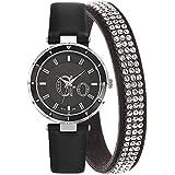 Go Girl Only - Coffret Montre et Bracelet Cristal Offert - 696082 - Montre Femme - Quartz Analogique - Cadran Noir - Bracelet Cuir Noir