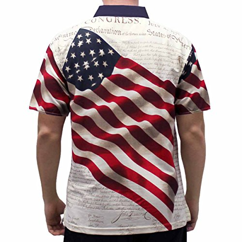 Mens Dress Shirts,BOLUBILUY American Flag Printed Casual Slim Fit Shirts Stand Collar 4th of July Apparel Tee