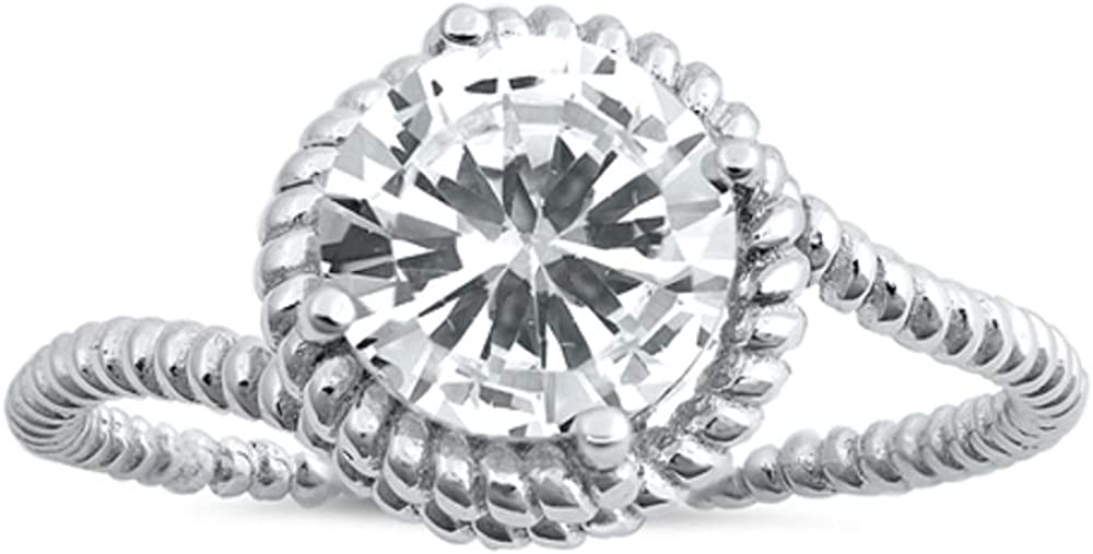 CloseoutWarehouse Round Clear Cubic Zirconia Center Rope Ring Sterling Silver
