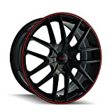 """Touren TR60 3260 Wheel with Black Finish with Red Ring (16x7""""/5x110mm)"""