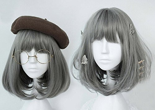 [Jooyi® Japan Harajuku Anime Fashion Lolita Natural Grey Straight Wig Lace Front Korean Style Make The Face Look Smaller Hair] (Lavender Marie Antoinette Wig)