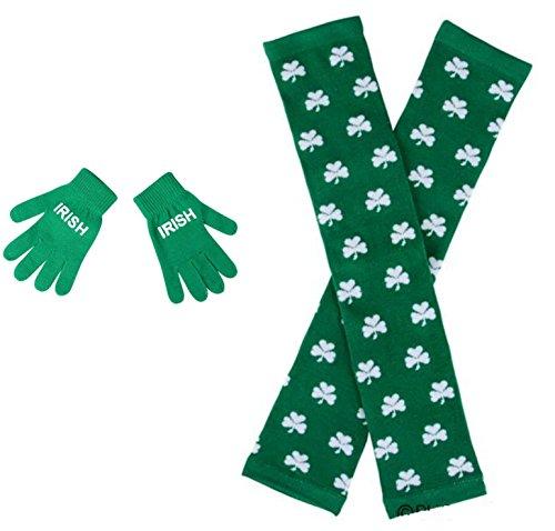 St Patricks Shamrock Leg Warmers and Irish Hand Gloves - 2 Pack by SK Novelty