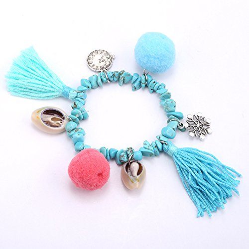 (European and American handmade wool ball tassels bracelet female shell crystal beaded jewelry accessories S170022)