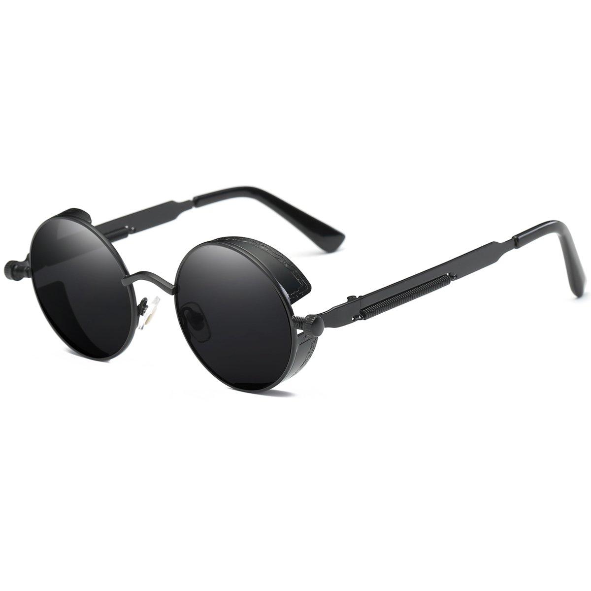 Dollger Gothic Steampunk Black Round Glasses Metal Frame Sunglasses by Dollger