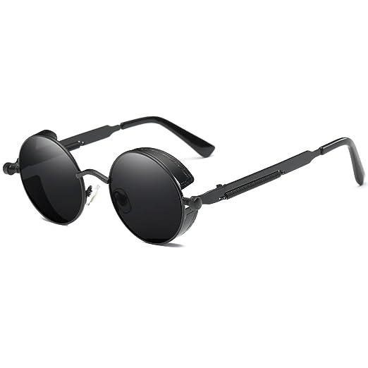 b5e5e18e7c Amazon.com  Dollger Gothic Steampunk Black Round Glasses Metal Frame  Sunglasses  Clothing