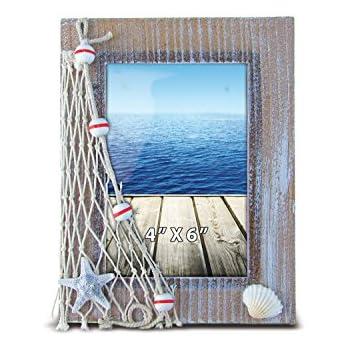 Amazon.com - Wood Blue White Photo Frame Distressed Nautical Beach ...