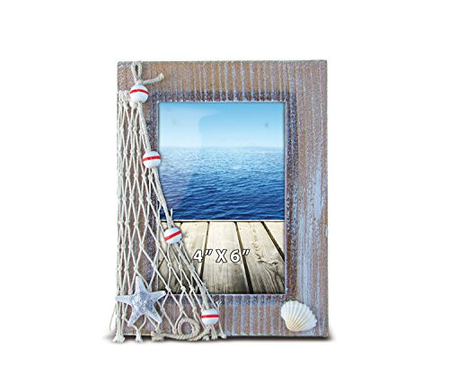 Puzzled Wooden Picture Frame with Starfish Seashell & Fishing Net, 4 x 6 Inch Sculptural Photo Holder Intricate Wood Art Handcrafted Tabletop Accent Nautical Beach Themed Home Décor Accessory (Photo Album Nautical)