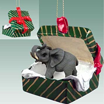 Amazon.com: Elephant Gift Box Christmas Ornament - DELIGHTFUL ...