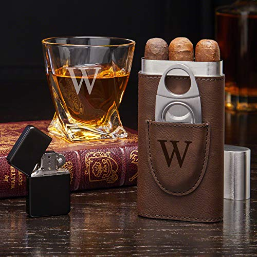 Engraved Whiskey and Cigar Gift Set with Twist Glass (Personalized Product)