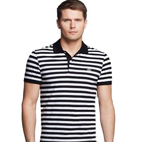 Lacost Men's Polo T-shirt Short Sleeve Stripe Black/white X-large