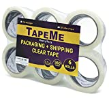 TapeMe Clear Packing Tape - 60 Yards Per Roll (Pack of 6 ) - 2.7mil, Heavy Duty Sealing Adhesive Industrial Tapes for