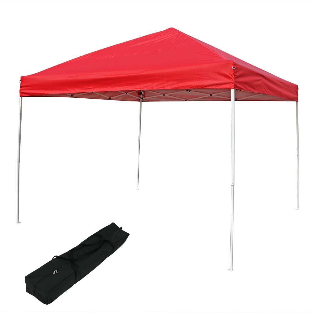 Sunnydaze Pop Up Canopy Tent 10 x 10 Foot with Outdoor Carrying Bag, Red