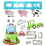 Farm Animals Cake Decorating Cutters - Cartoon Tractor/Car Cookie Cutter Set/Pig Sheep Cow/Biscuit Mold for DIY Baking Fondant Sugarcraft Pastry Cupcake Toppers