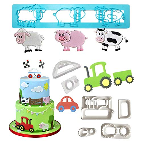 (Farm Animals Cake Decorating Cutters - Cartoon Tractor/Car Cookie Cutter Set/Pig Sheep Cow/Biscuit Mold for DIY Baking Fondant Sugarcraft Pastry Cupcake Toppers)