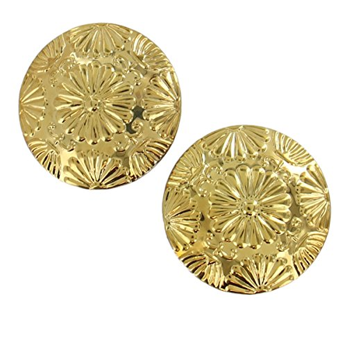 Large Gold Tone Shiny Flower Daisy Design Curved Disc Clip Earrings 1 3/4