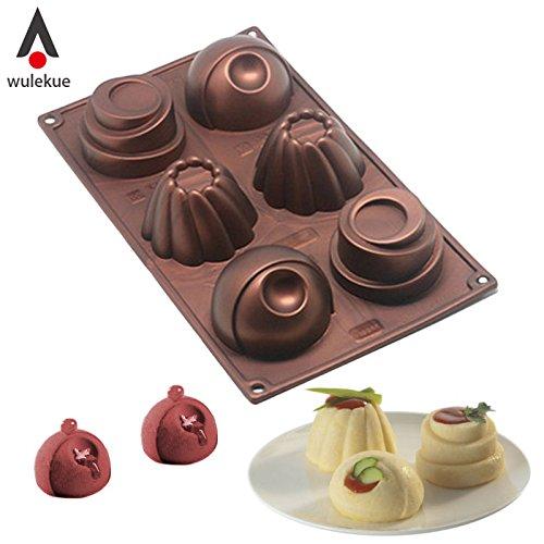 (Wulekue Silicone 6 Hole Chocolate Cake Mold Tool For Baking Jelly Pudding Dessert Mousse Handmade Soap Frozen)