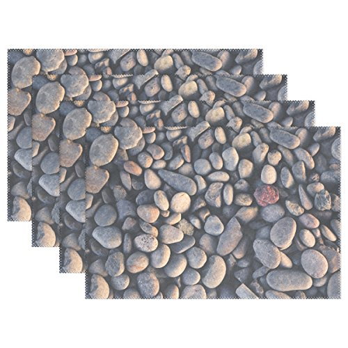 (ENEVOTX Pebbles Stones Ground Material Round Shape Placemats Set Of 4 Heat Insulation Stain Resistant For Dining Table Durable Non-slip Kitchen Table Place Mats)