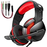 PHOINIKAS USB Stereo Surround Sound Gaming Headset for PS4 PC Xbox One Nintendo Switch, Noise Cancelling Over Ear Headphones with Mic LED Light for Laptop, Mac, iPad, Nintendo Switch Games-Red