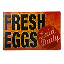 T-ray TIN SIGN Fresh Eggs LD Metal Decor Art Chicken Coop Kitchen Cottage Farm