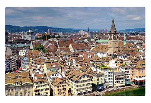 """Tollyee Indoor Floor Rug/Mat - Zurich Switzerland (23.6"""" x 15.7"""", 60cm x 40cm)"""