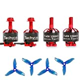 iFlight 4pcs Tachyon T1408 3500KV 2-4S Brushless Motor with 3 Inch Props for 130-180mm FPV Racing Drone Micro Quadcopter Motors