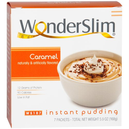 Caramel Pudding - WonderSlim Low-Carb High Protein Instant Diet Pudding Mix - Caramel (7 servings/box) - Low Carb, Low Calorie, Low Fat