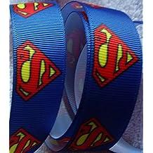 "Grosgrain Ribbon **Superman Print** - 7/8""wide - 5 Yards - Hair Bows, Craft"