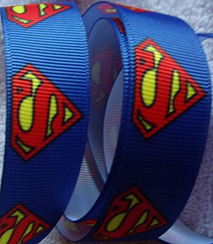 (Grosgrain Ribbon **Superman Print** - 7/8