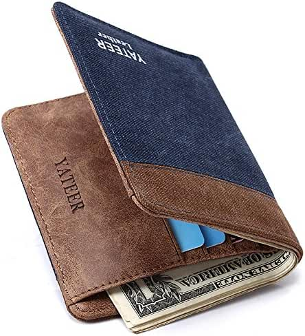 Mens Classic Bifold Slim Wallet With Leather Lining Minimalist Brown Canvas Credit Card Wallet