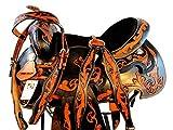 Orlov Hill Leather Co 14 15 16 Black TAN Floral Tooled Show Trail Barrel Racing Western Saddle