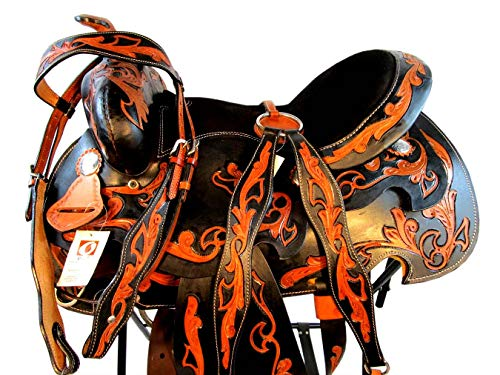 (Orlov Hill Leather Co 14 15 16 Black TAN Floral Tooled Show Trail Barrel Racing Western Saddle (16 Inch))
