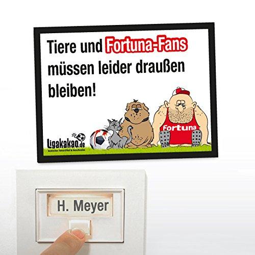 Klingel Abwehr-Schild vor Düsseldorf-Fans | Achtung FC Köln-, Bayer Leverkusen- & alle Fußball-Fans, Dieses witzige Haus-Tür-Schild sorgt in eurem Reich für klare Verhältnisse und einfach mehr Spaß Ligakakao.de