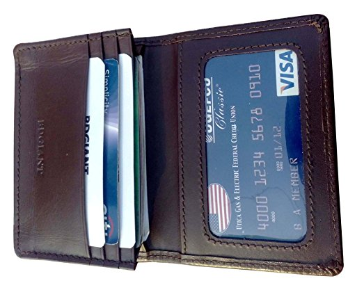 Bdgiant Unisex Genuine Leather Slim Business Card, Credit Card, ID Holder Wallet-brown