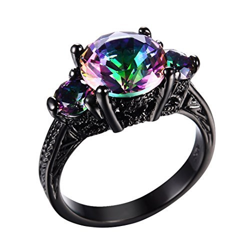 RongXing Jewelry New Mysterious Rainbow Topaz Ring,14KT Black Gold Wedding Rings Sz 7 - Rainbow Necklace Butterfly