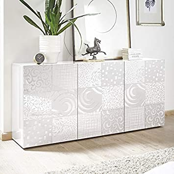M-012 Buffet Blanc laqué 180 cm Design ELMA, 3 Portes: Amazon.fr ...