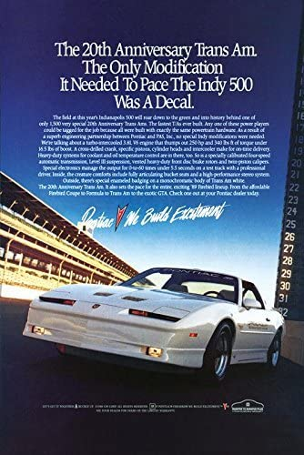 Amazon Com 1989 Pontiac Firebird Trans Am Ad Digitized And Re Mastered Car Poster Print 20th Anniversary 24 X36 Posters Prints