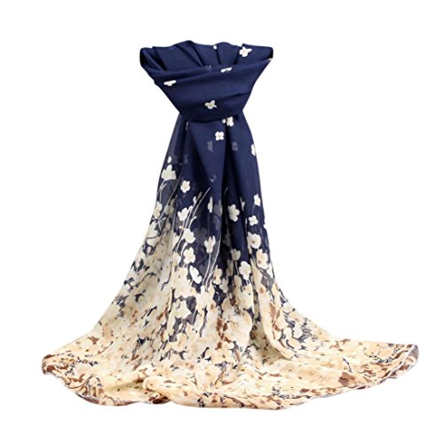 Clearance! Elogoog Women Fashion Floral Scarves Sheer Chiffon Long Scarf Shawl Wrap (Dark Blue)