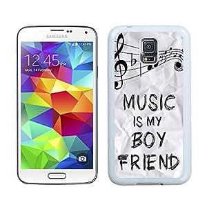 Custom-ized Phone Case S5 Case,Music Is My Boyfriend Black Plastic Case Samsung Galaxy S5 Case,Unique Design Galaxy S5 Case