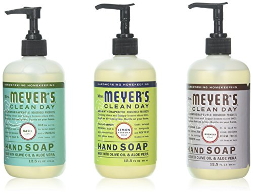 Basil Hand Soap (Mrs. Meyer's Hand Soap Variety Pack Lemon Verbena, Basil, Lavender 12.5 Fluid Ounce)