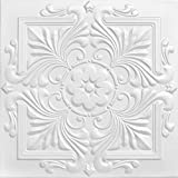 A la Maison Ceilings 1594 Victorian - Styrofoam Ceiling Tile (Package of 8 Tiles), Plain White