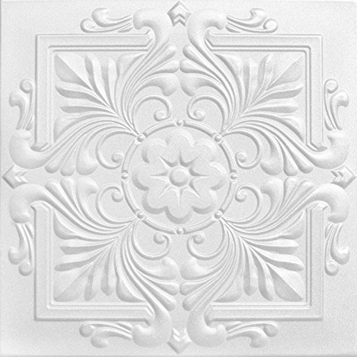 A la Maison Ceilings 1594 Victorian  Styrofoam Ceiling Tile Package of 8 Tiles Plain White